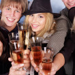 Group young drinking champagne. - Stock Photo