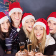 Group young in santa hat. — Stock Photo #6724903