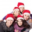 Group young in santa hat . — Zdjęcie stockowe #6724923