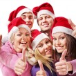 Group young in santa hat show thumbs up. — Stock Photo #6724932