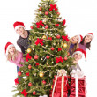 Group young in santa hat. — Stock Photo #6724951