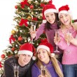 Group young in santa hat. - Stock Photo