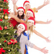 Group young in santa hat. — Stock Photo #6724971