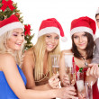 Group young in santa hat. — Stockfoto #6724981