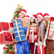 Group young in santa hat. — Stock Photo #6724987