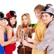 Group young on party. - Stock Photo