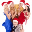 Group young in santa hat — Stock Photo