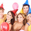 Group of young in party hat. — Zdjęcie stockowe #6725039