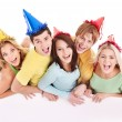 Group of happy holding banner. — Stock Photo #6725082