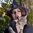 Witch holding cat outdoor. - Stock Photo