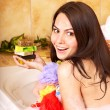 Woman take bubble  bath. - Stock Photo