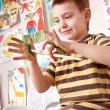 Child preschooler painting. — Stock Photo