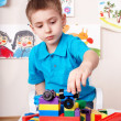 Child play construction set at home. — Stock Photo #6725698