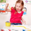 Child preschooler painting picture in play room. — Stock Photo