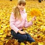 Kid in autumn orange leaves. — Stock Photo #6725881