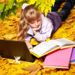 Stock Photo: Kid in autumn orange leaves with laptop.