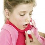 Sick child take medicine. Isolated. — Stock Photo #6725923