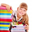 Stock Photo: School child holding stack of books.