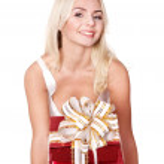 Girl holding stack gift box .. — Stock Photo #6726302