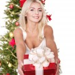 Beautiful girl giving red gift box. — Stock Photo #6726304