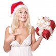 Christmas girl in santa hat holding stack gift box. — Stock Photo #6726327