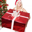 Christmas girl in santa hat giving red gift box. - Stock Photo