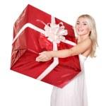 Girl holding gift box .. — Stock Photo
