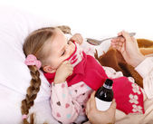 Sick child refuse to take medicine. — Stock Photo