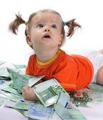 ребенок и евро. — Стоковое фото