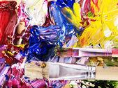 Zavřít smíšené na paletě barev. — Stock fotografie