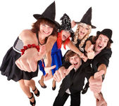Group of in witch costume. — Stock Photo