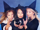 Young woman with crystal ball. Fortune Telling. — Stock Photo