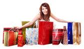 Meisje met boodschappentas. geïsoleerd. — Stockfoto