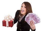 Biznes kobieta z pieniędzy, pudełko. na białym tle. — Zdjęcie stockowe