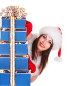 Christmas girl in santa hat with blue gift box group. — Stock Photo