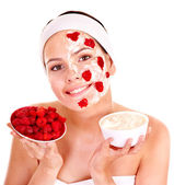 Natural homemade fruit facial masks . — Stock Photo
