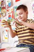 Child preschooler painting. — Stock Photo