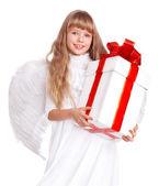 Engel kind met doos van de gift. — Stockfoto