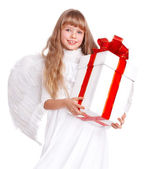 Angel child with gift box. — Stock Photo