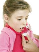 Sick child take medicine. Isolated. — Stock Photo