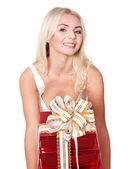 Girl holding stack gift box .. — Stock Photo