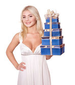 Girl with stack gift box. — Stock Photo