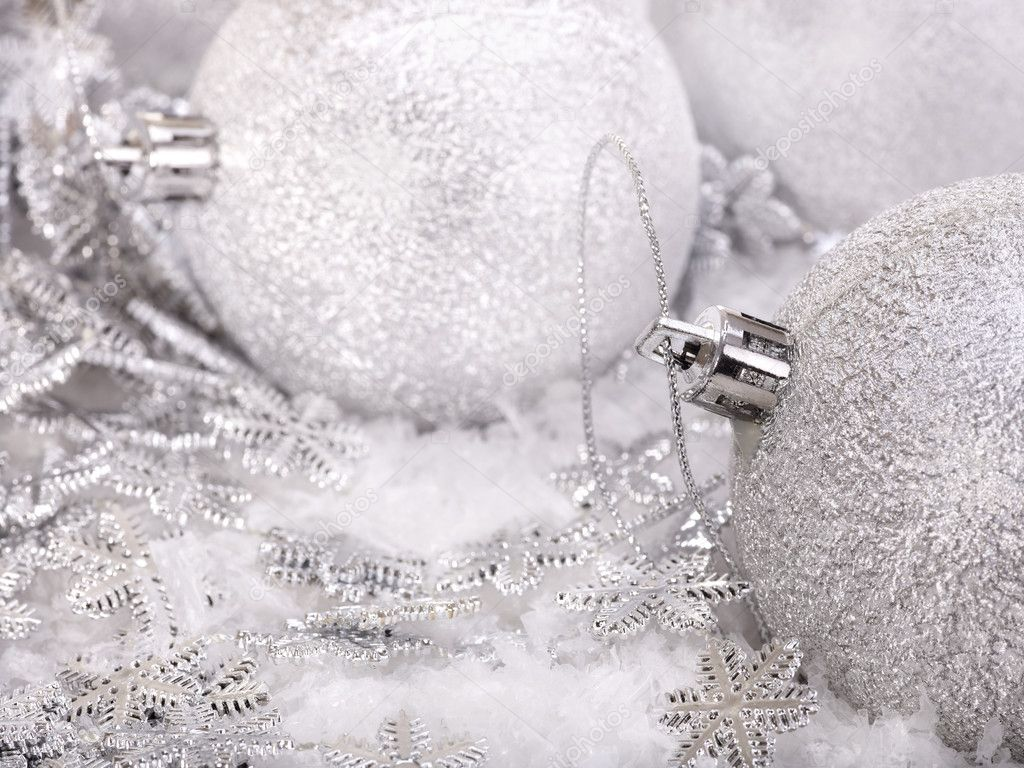 Group of christmas ball in snow. — Stock Photo #6724165