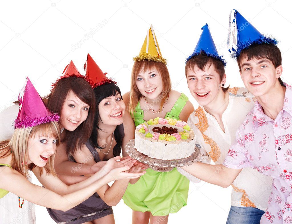 Group in party hat eat cake. Isolated. — Stock Photo #6724800