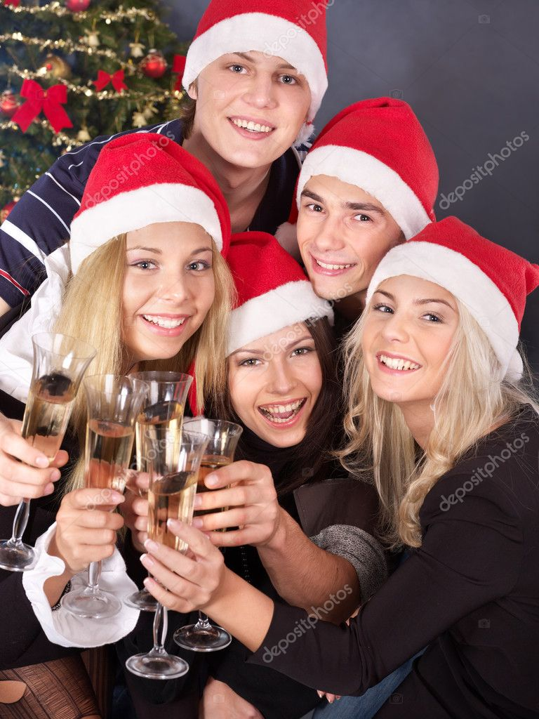Group young drink champagne at nightclub. — Stock Photo #6724901