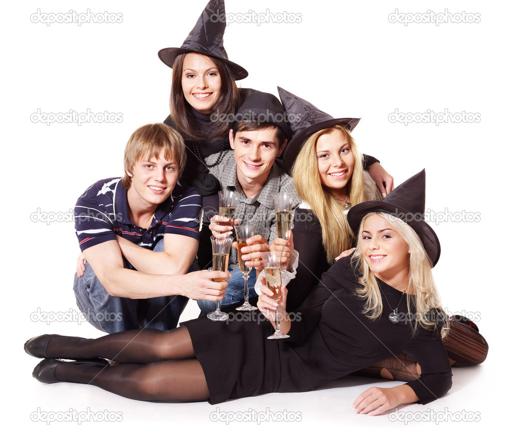 Group young on party. Isolated.  Stock Photo #6724916