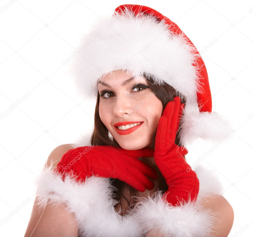 Christmas girl in santa hat. Isolated. — Stock Photo #6725355