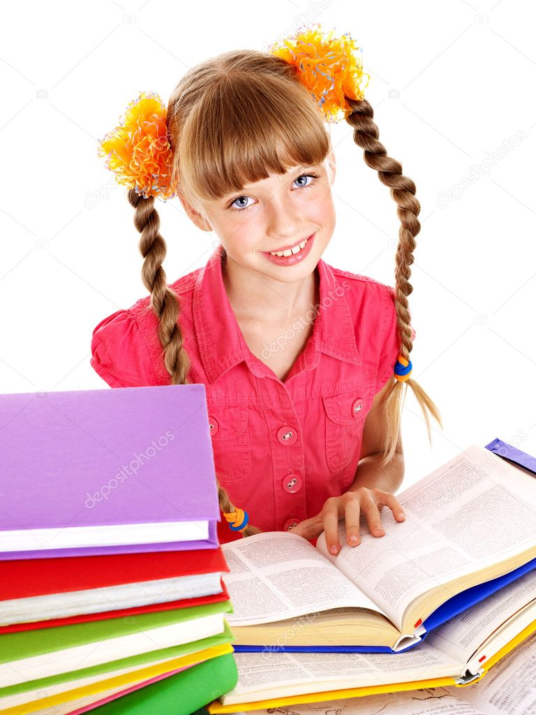 Little girl reading open  book on table. Isolated.  Stock Photo #6725862