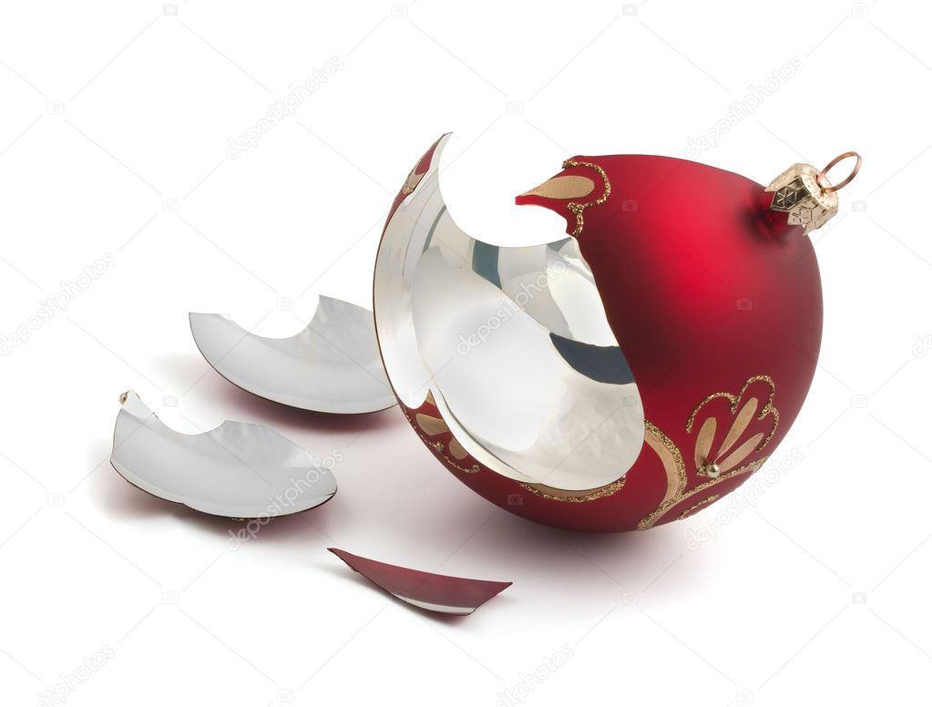 Broken red glass Christmas ball isolated on white — Stock Photo #6366851