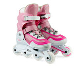 孤立在白色的粉红色内联滚轴溜冰鞋 — 图库照片